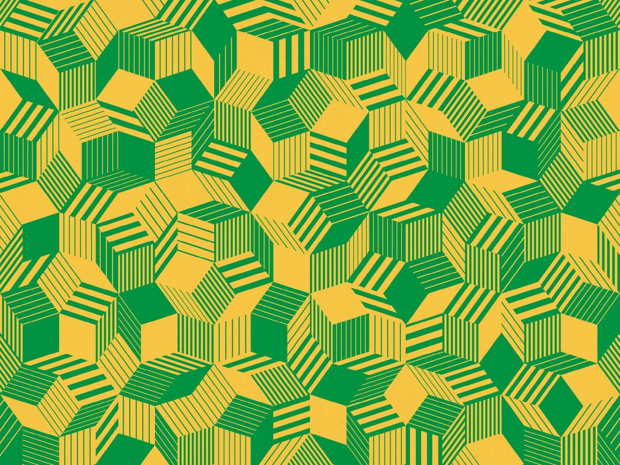 Zoom du papier peint motif géométrique penrose, Penrose Brazil, collection Penrose, design IchetKar