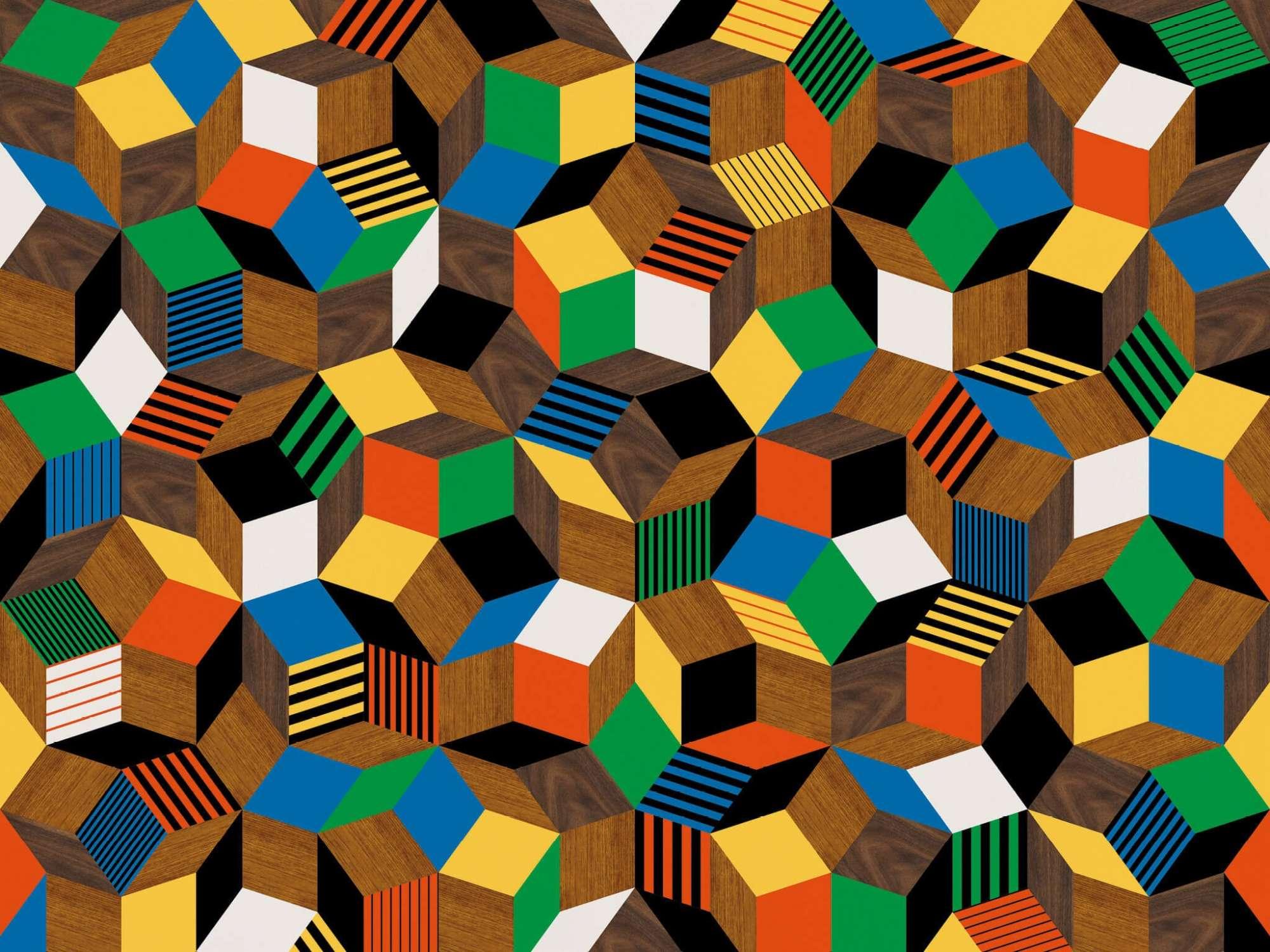 Zoom du papier peint motif géométrique penrose, Penrose Crazy Wood, collection Penrose, design IchetKar