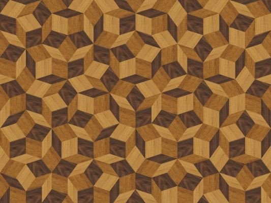 Zoom du papier peint motif géométrique penrose, Penrose Wood, collection Penrose, design IchetKar