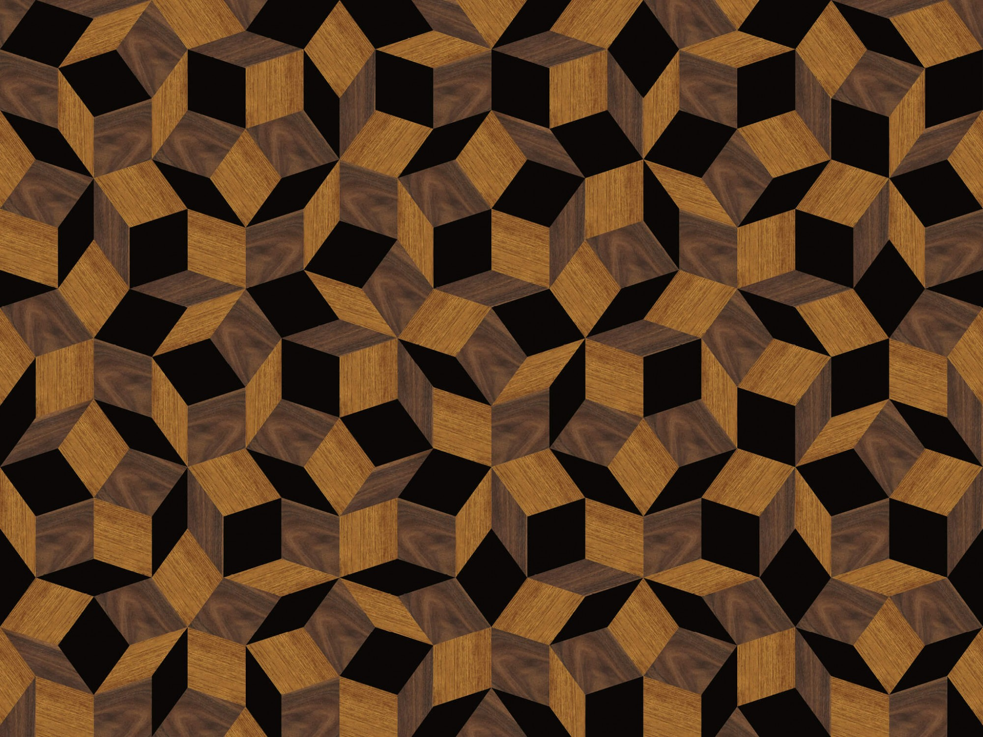 Zoom du papier peint motif géométrique penrose, Penrose Wood & black, collection Penrose, design IchetKar