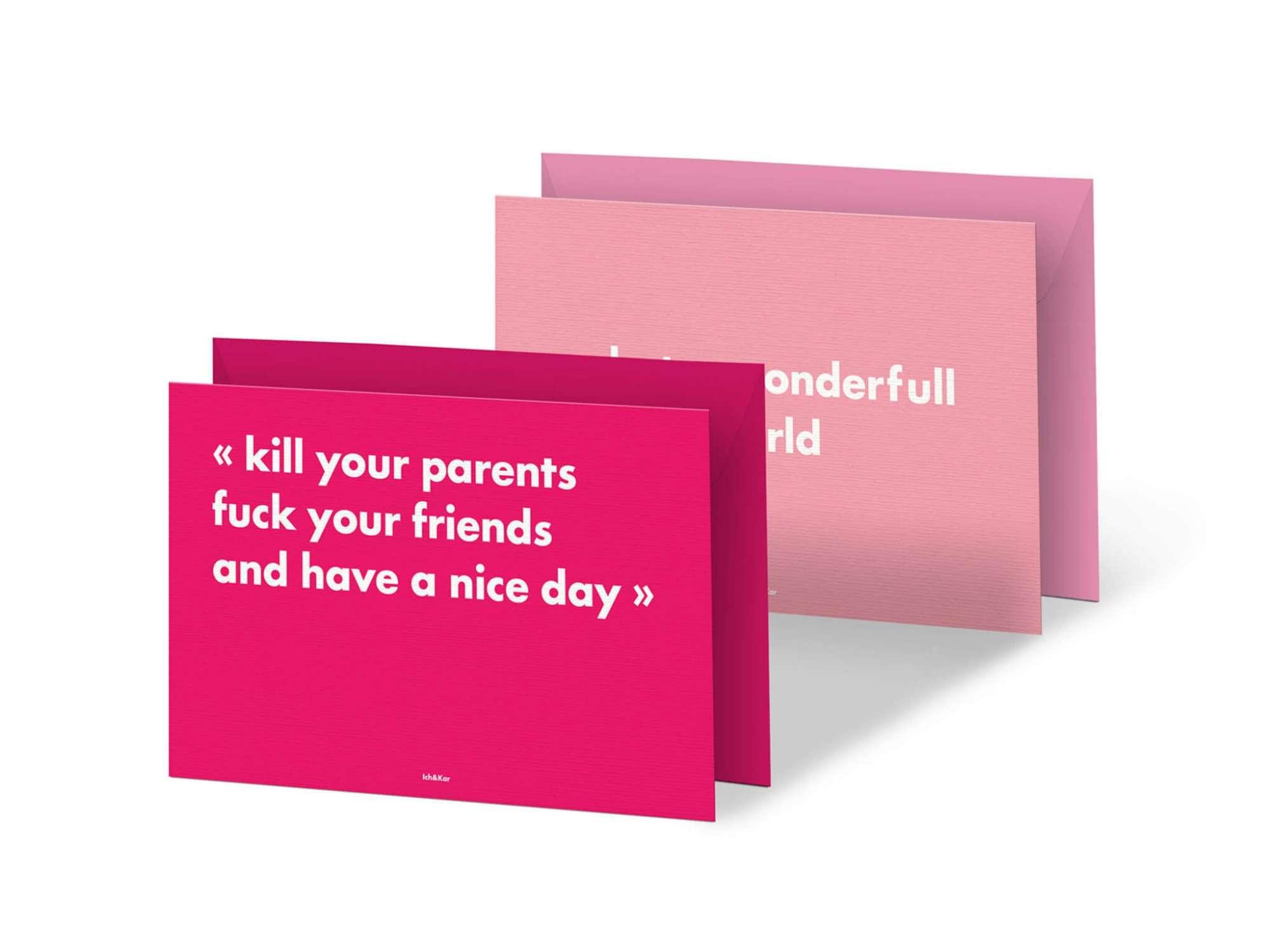 pink passion ! duo de cartes postales  typo roses, ornées des punchlines de la collection rsvp par Ichetkar