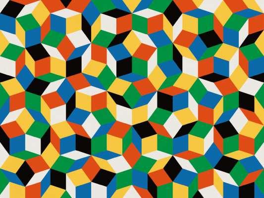 Zoom du papier peint motif géométrique penrose, Penrose Primaries, collection Penrose, design IchetKar
