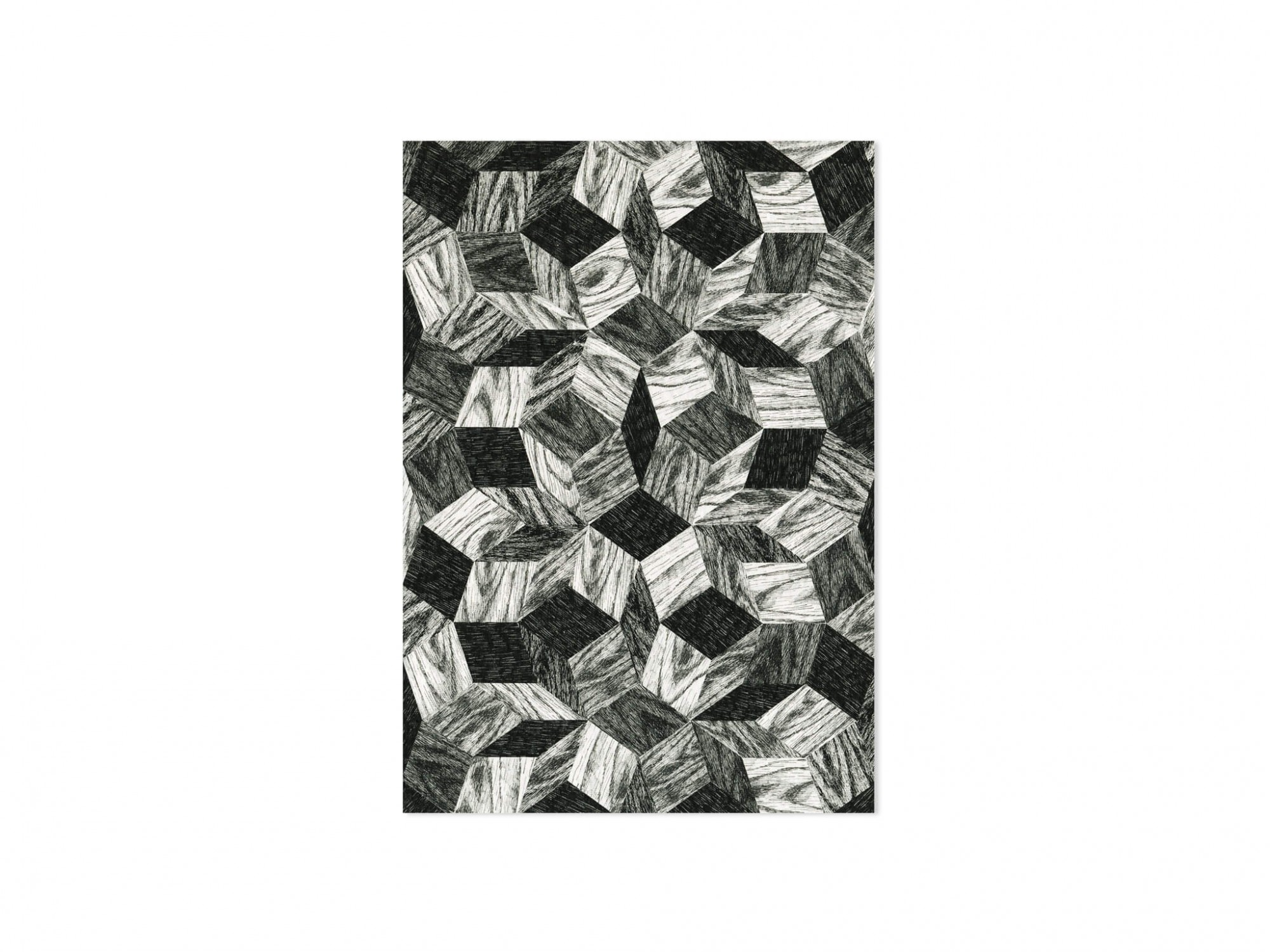 carte Penrose Black Wood, Une collection de cartes postales graphiques dessinés par les artistes Ich&Kar.