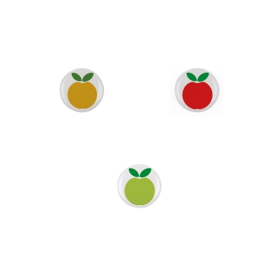 Pom pom pom, des badges pomme so Seventies !!