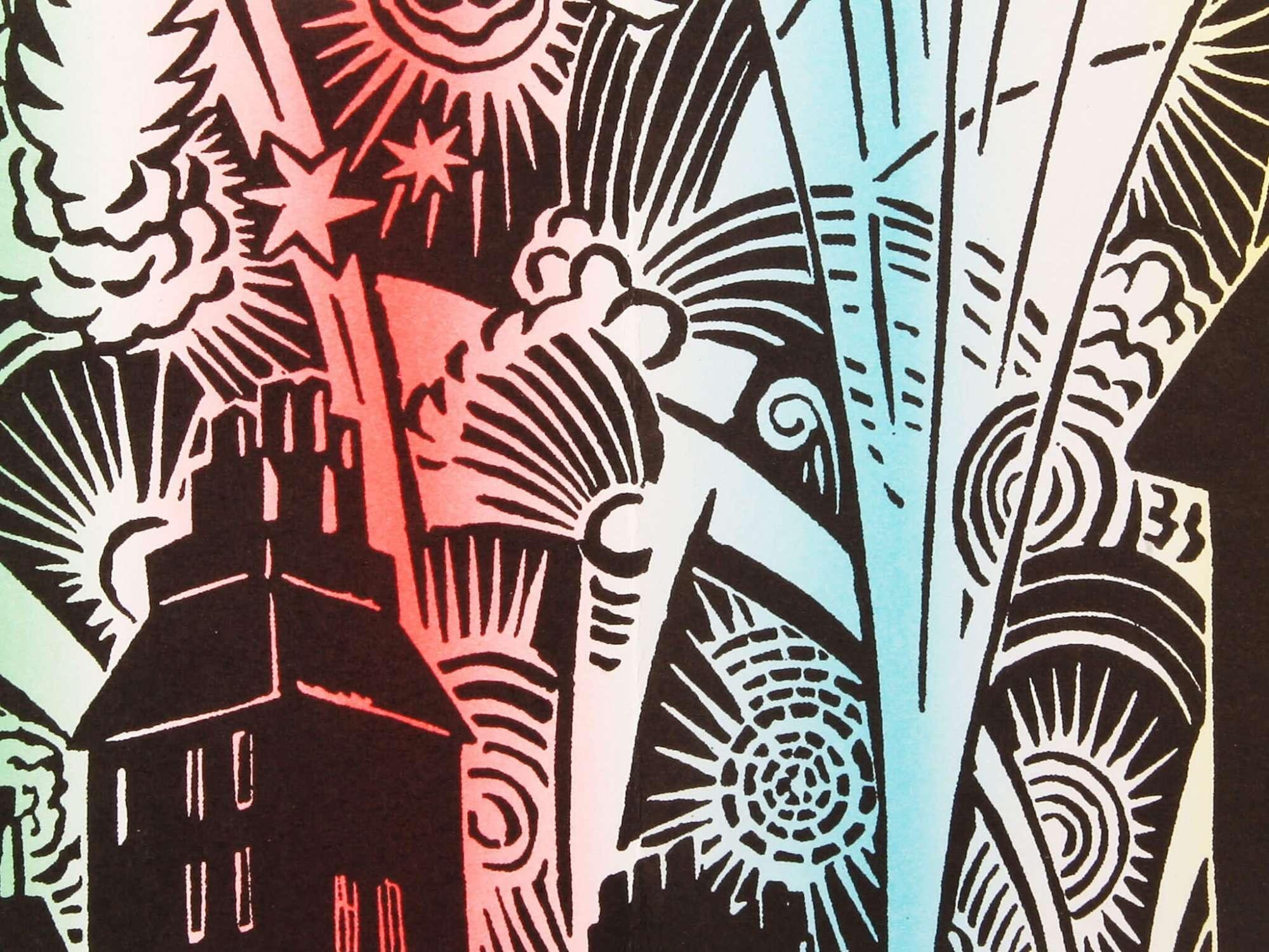 Frans Masereel Mon livre d'heures Page de garde bois gravé détail couleur