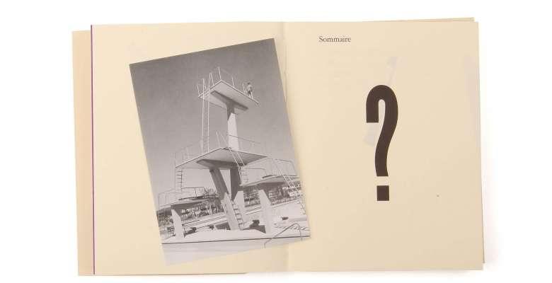 Max Frisch Questionnaires Éditions cent pages page intérieure + vignette Max Frisch sur plongeoir piscine Letzigraben Zürich