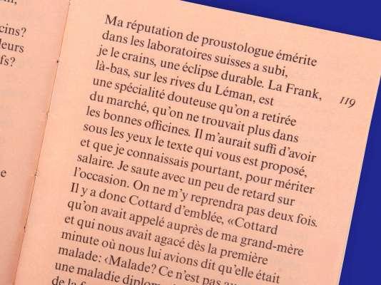 Marcel Proust Mort de ma grand-mère Éditions cent pages page intérieure postface Bernard Frank Docteur Cottard
