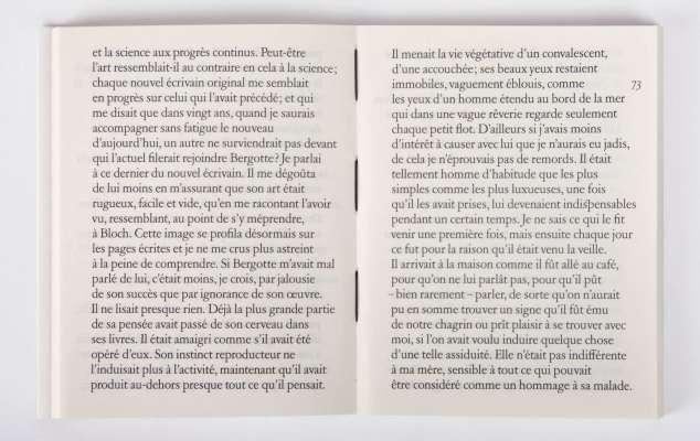 Marcel Proust Mort de ma grand-mère Éditions cent pages page 73 couture fil noir