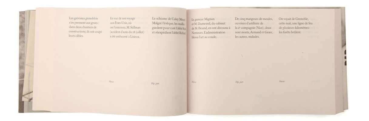 Félix Fénéon Nouvelles en trois lignes Éditions cent pages page intérieure faits divers composition SP Millot