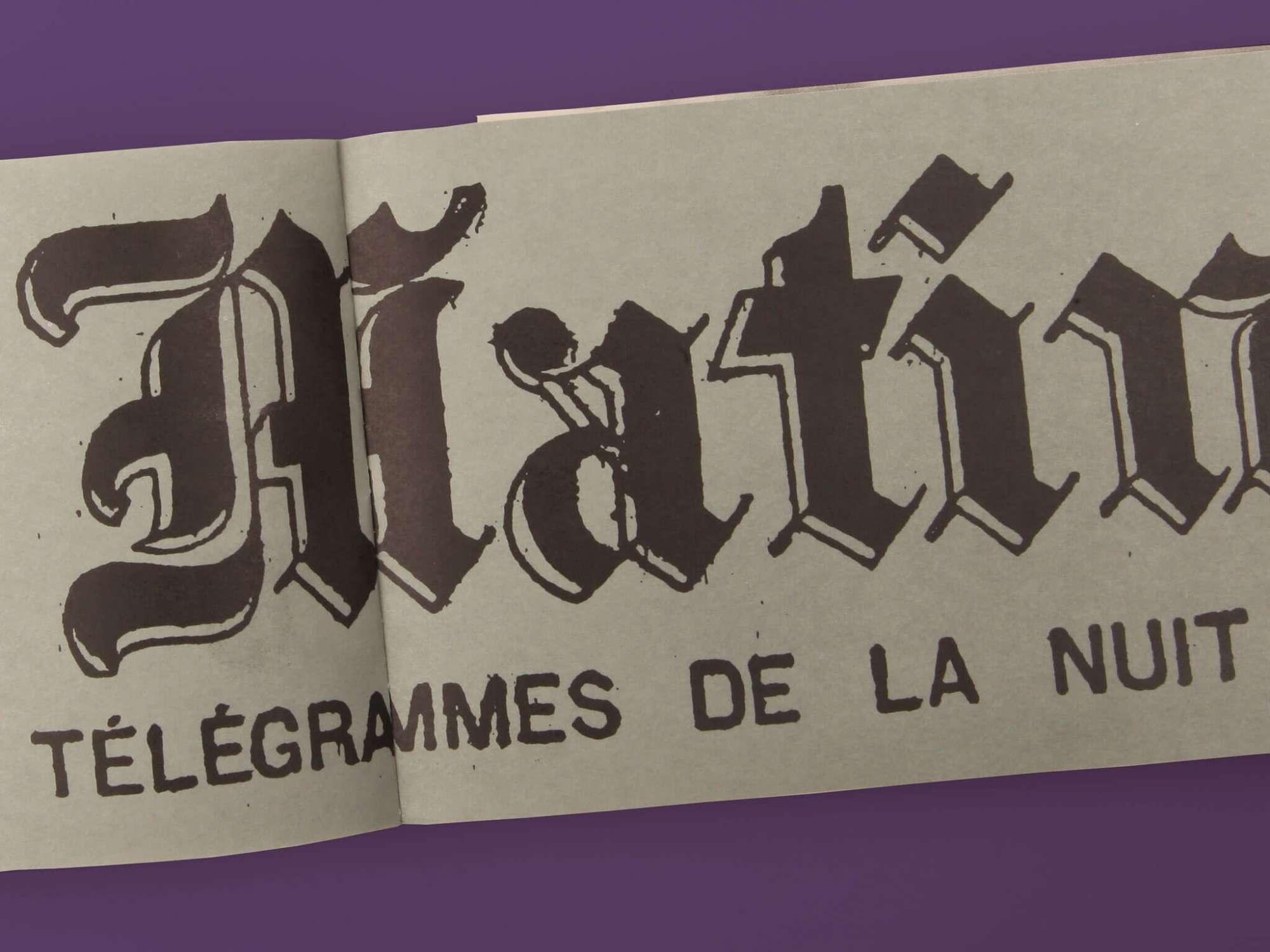 Félix Fénéon Nouvelles en trois lignes Éditions cent pages page intérieure Le Matin Télégrammes de la nuit Faits divers