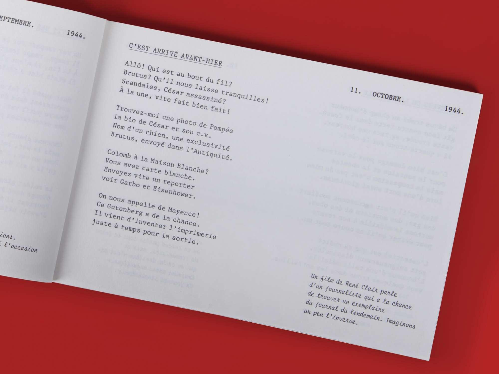 Stig Dagerman Billets quotidiens Éditions cent pages page intérieure poème 11 octobre 1944 composition SP Millot