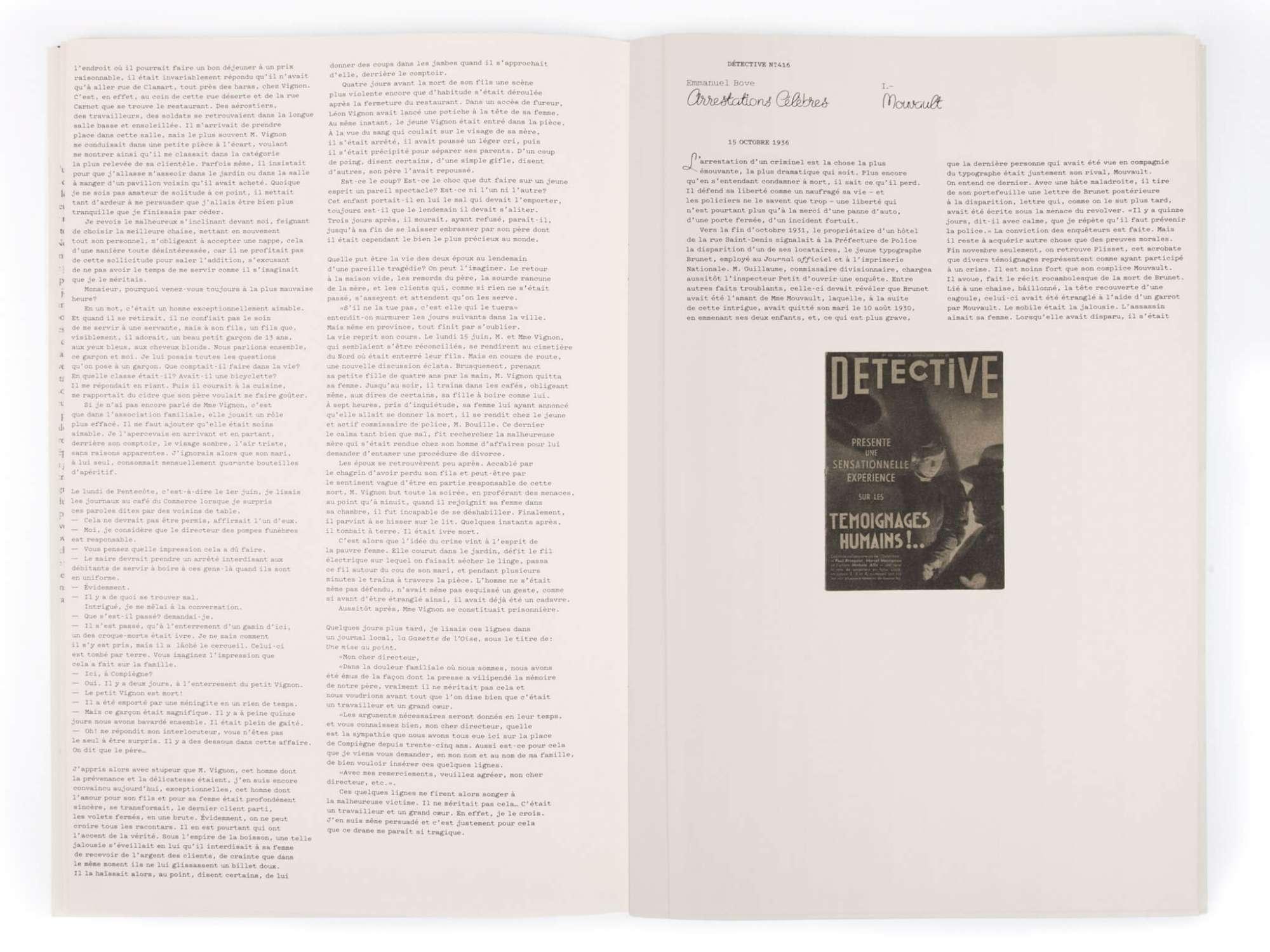 Emmanuel Bove Arrestations célèbres Éditions cent pages Détective 15 octobre 1936 Arrestation de Mouvault