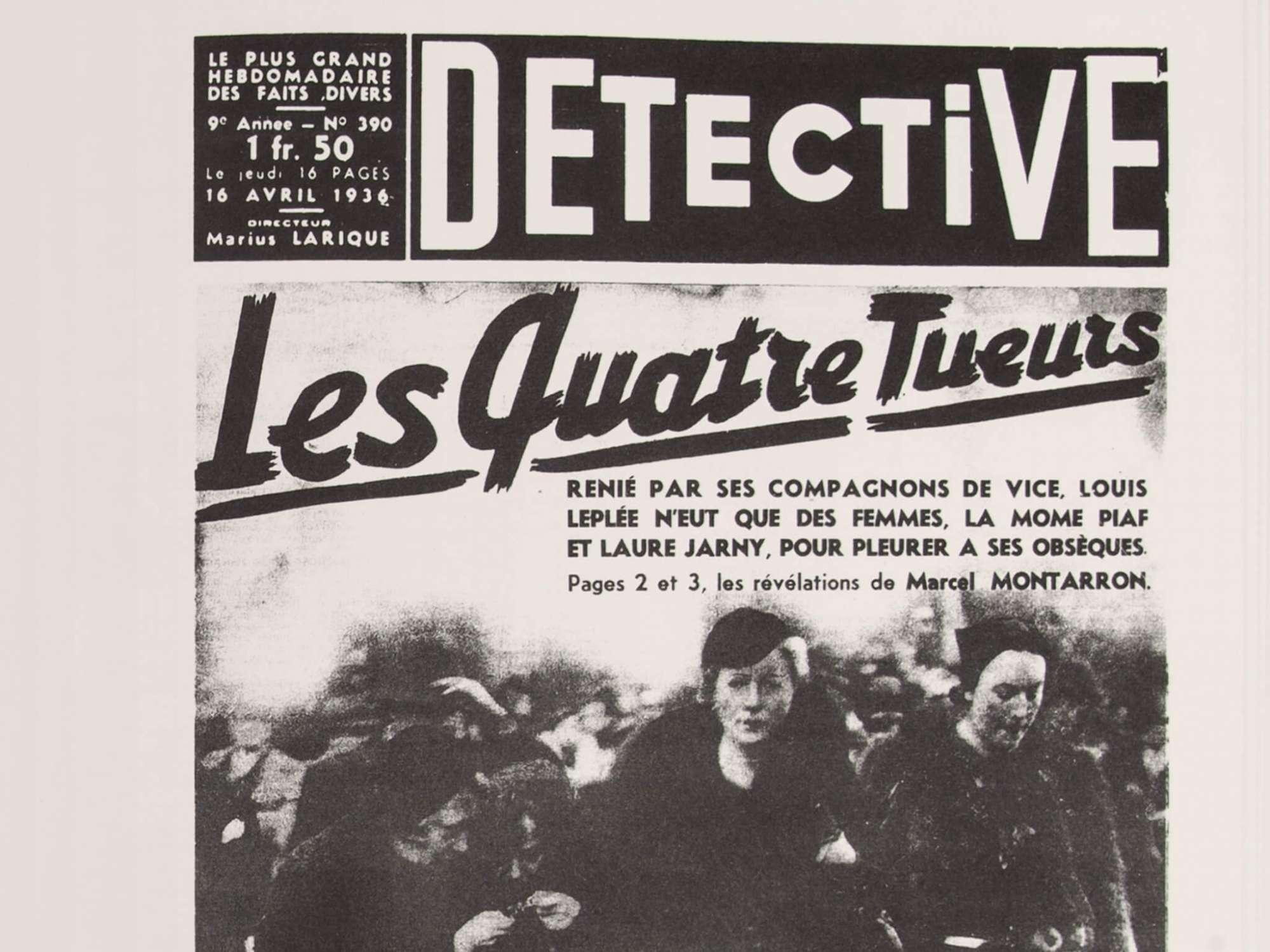 Emmanuel Bove Arrestations célèbres Éditions cent pages Détective 16 avril 1936 Édith Piaf en couverture