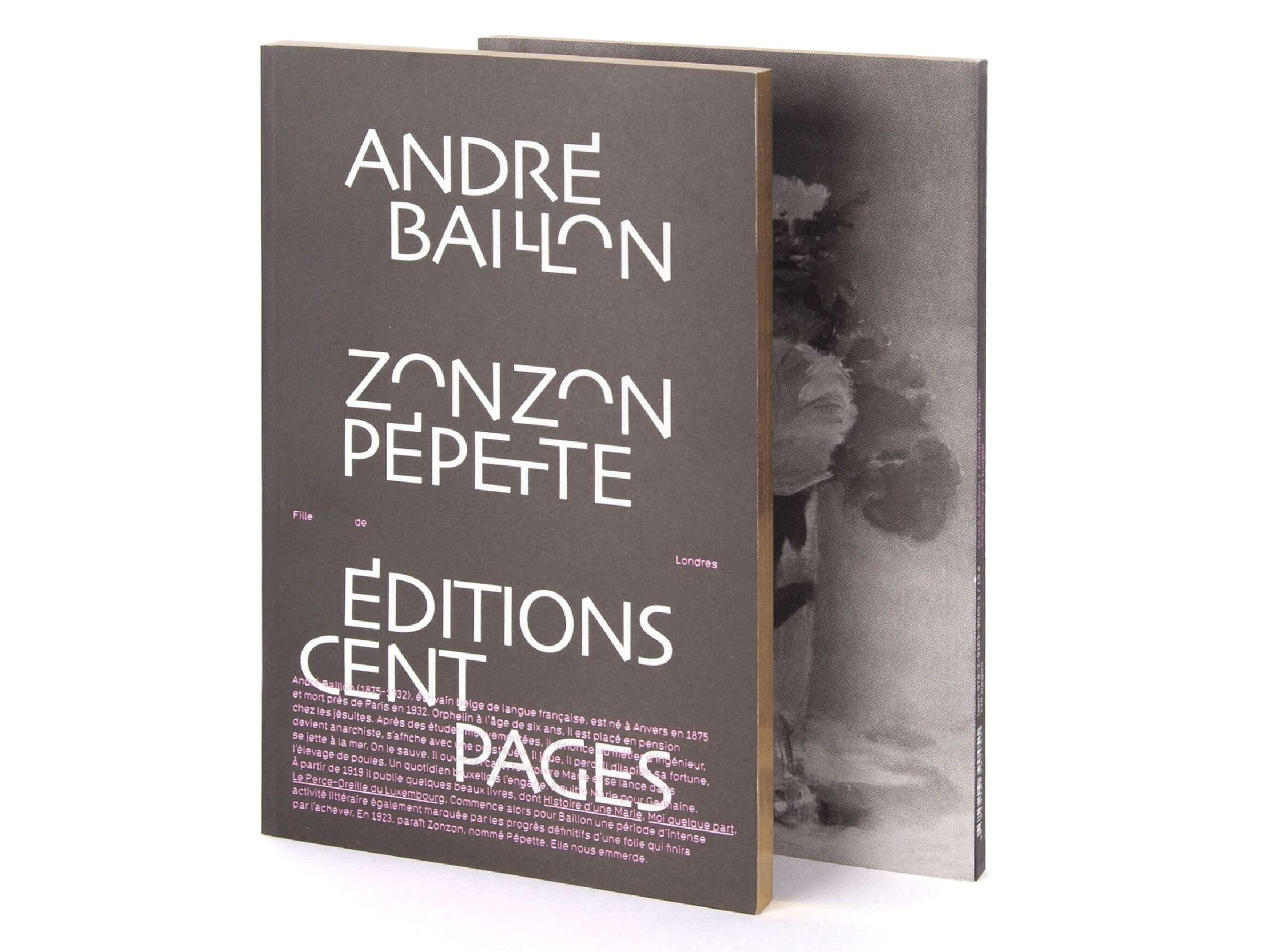 André Baillon Zonzon Pépette  Éditions cent pages collection Rouge-Gorge Couverture