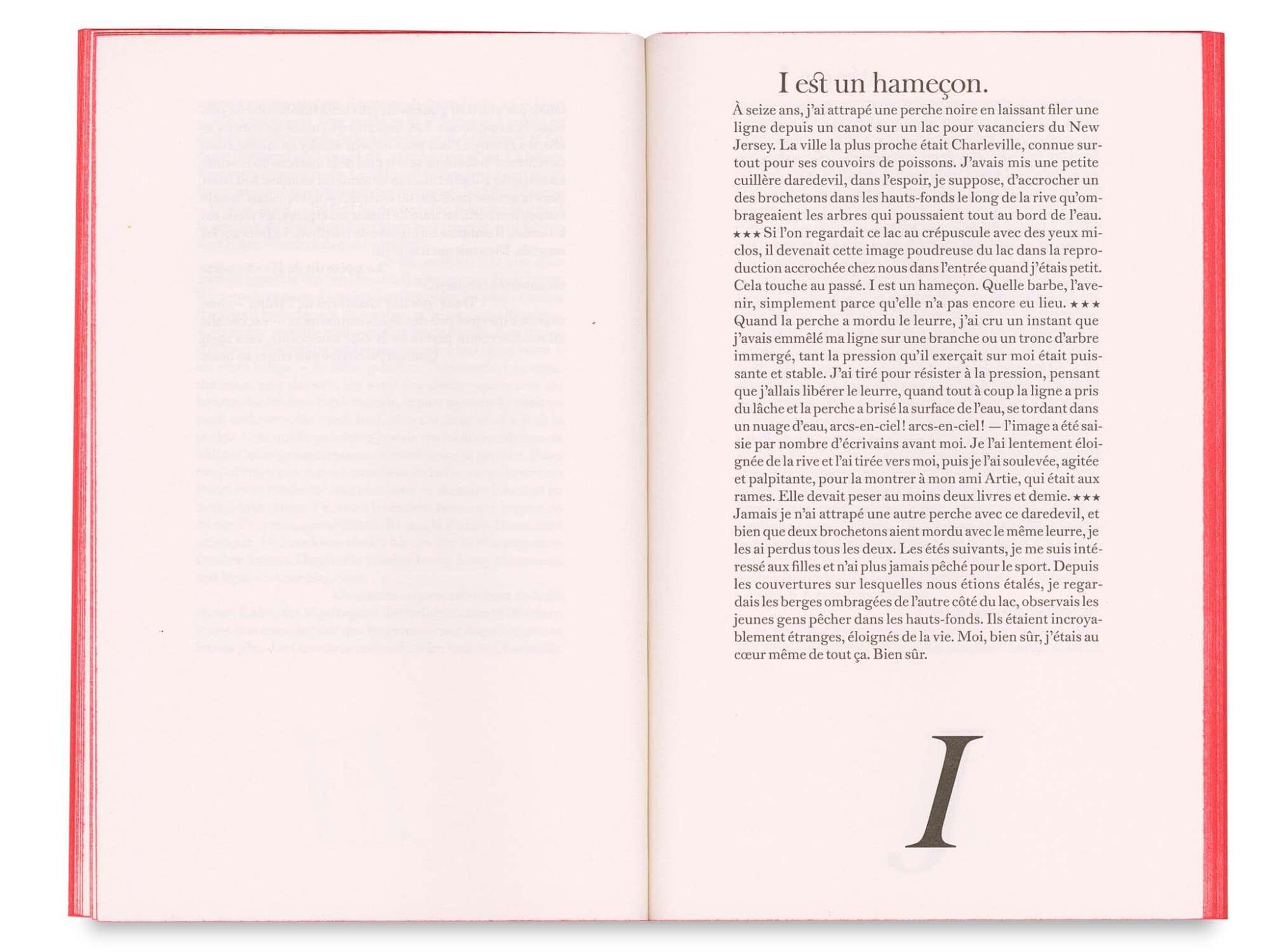 Gilbert Sorrentino Splendide-Hôtel Éditions cent pages Lettre I: I est un hameçon