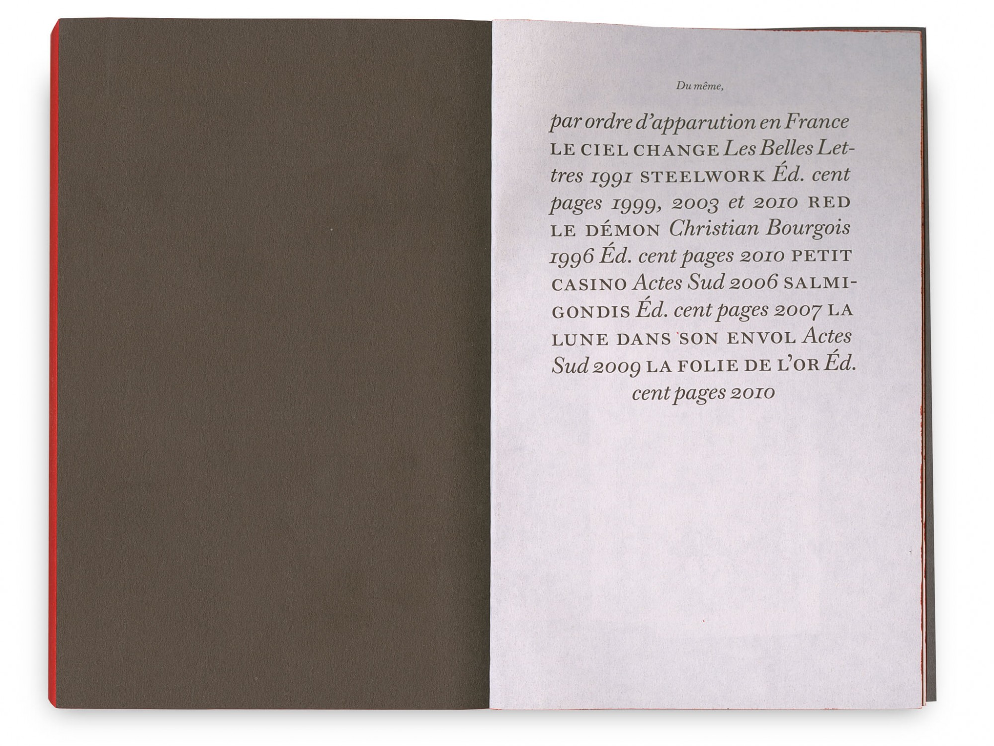 Gilbert Sorrentino Steelwork  Éditions cent pages SP Millot