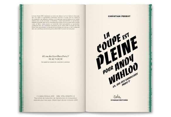 la coupe est pleine pour Andy wahloo, livre-menu dessiné par Ich&Kar pour le lieu parisien
