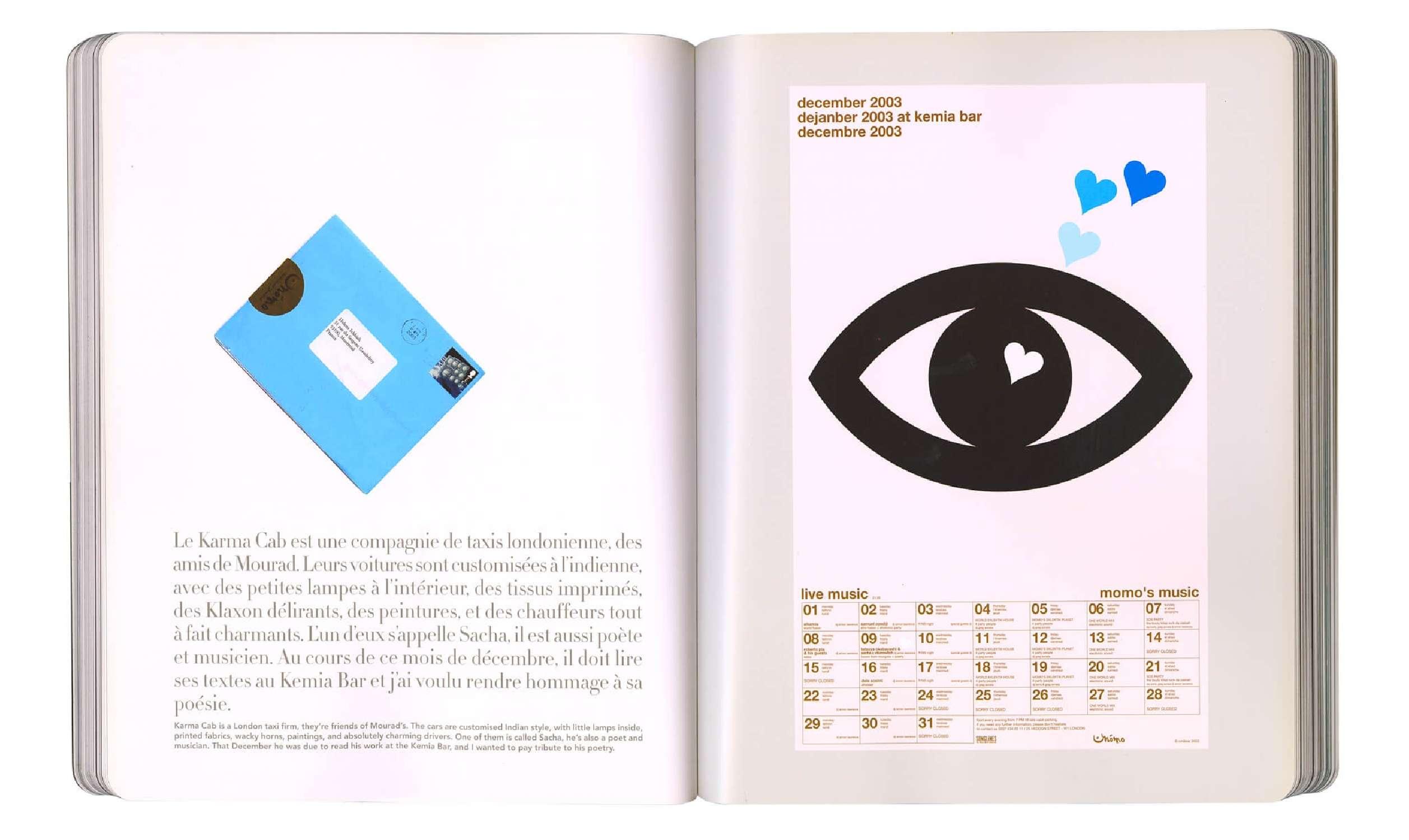 page intérieure du livre  de graphisme IK diary at momo's