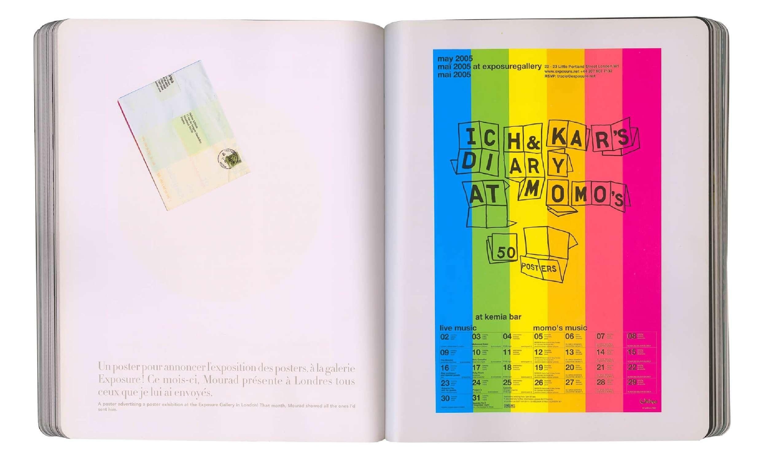page intérieure du livre graphique sur le projet diary at momo's poster multicolore en offset fluo