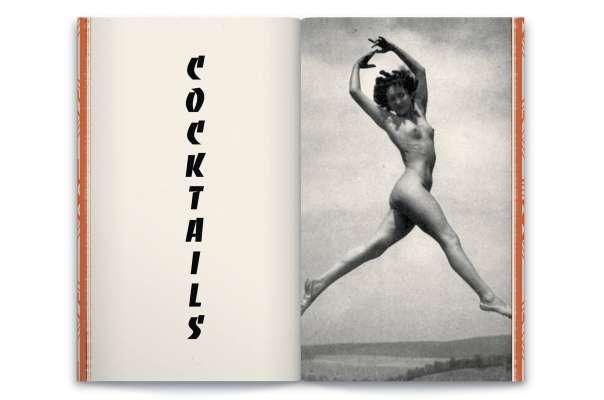 double page du livre Le monde selon Andy wahloo, cocktail menu dans un livre vintage