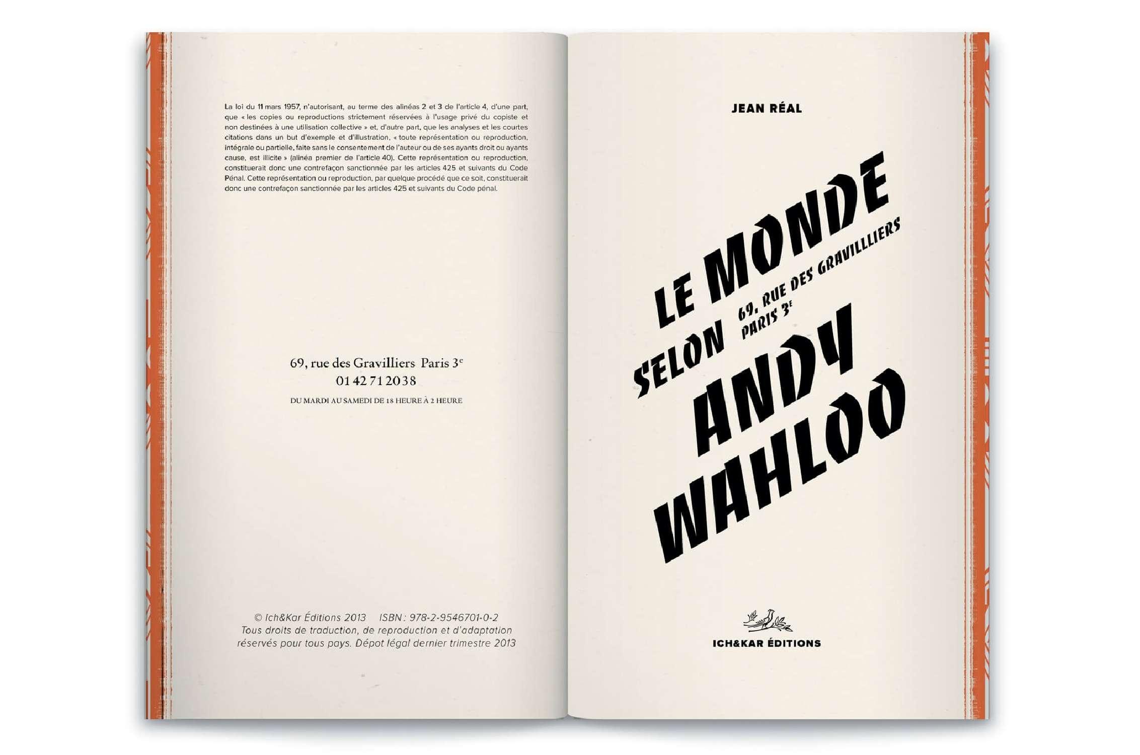 double page du livre-menu Andy Wahloo, 16 nouvelles de l'écrivain Jean Réal par le studio Ich&Kar