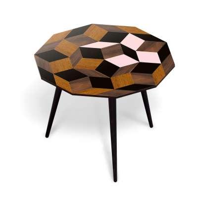 Table basse spring wood Penrose, motif géométrique crée par Roger Penrose. Marqueterie de bois et rose, design ichetkar