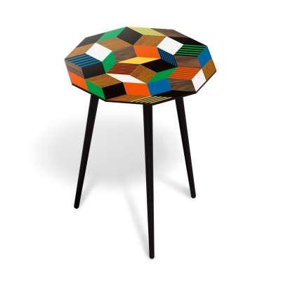 Guéridon au motif géométrique Crazy Wood. Design IchetKar édition Bazartherapy