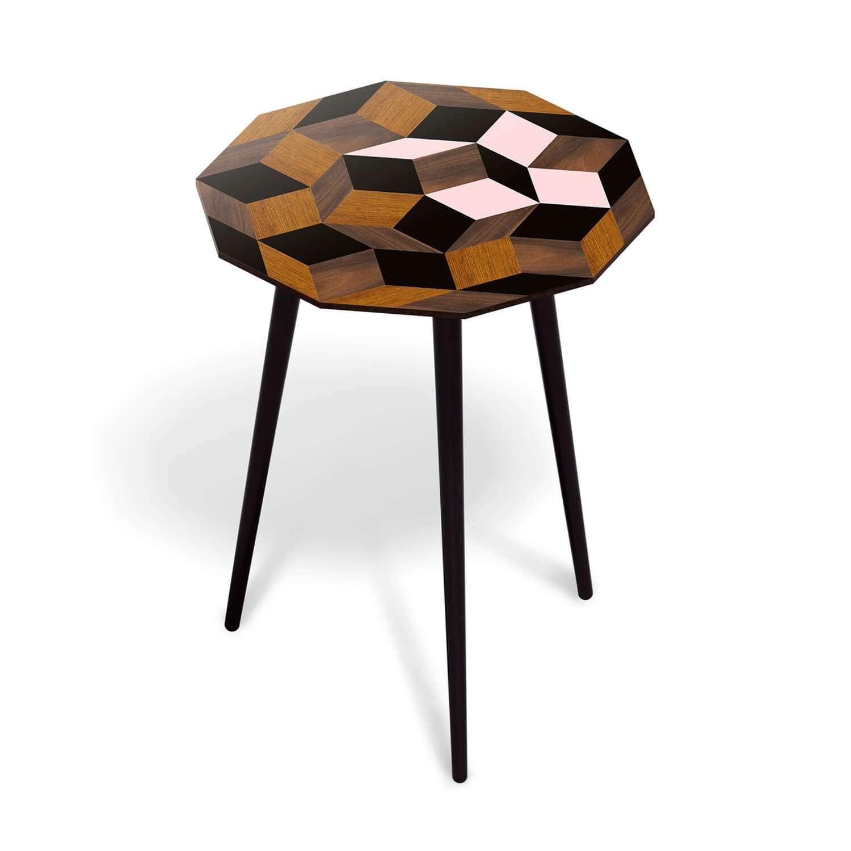 Guéridon Spring Wood marqueterie de bois, motif geometrique. Design IchetKar édition Bazartherapy
