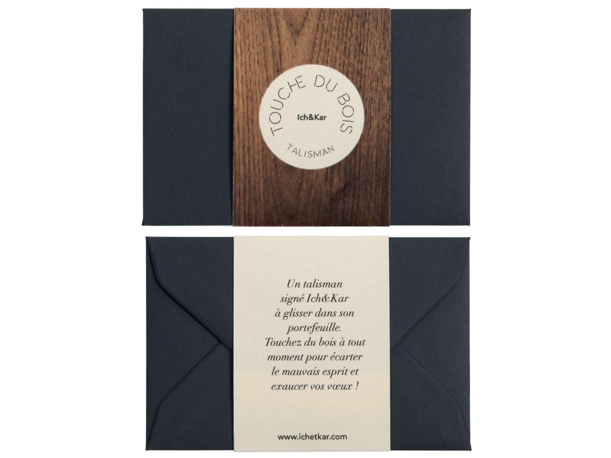 recto et verso du talisman touche du bois ich&kar carte en bois porte bonheur