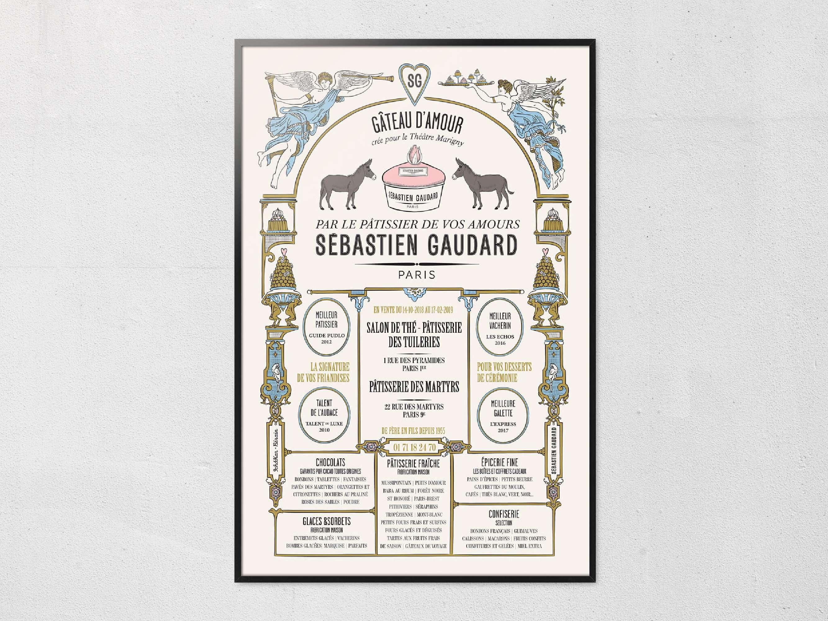 Poster comme une affiche ancienne dessinée par Ich&kar pour le patissier Sébastien Gaudard