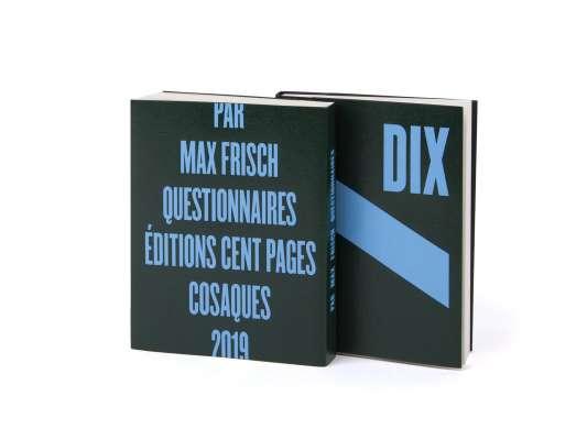 Max Frisch Questionnaires Éditions cent pages jaquette marquage à chaud bleu