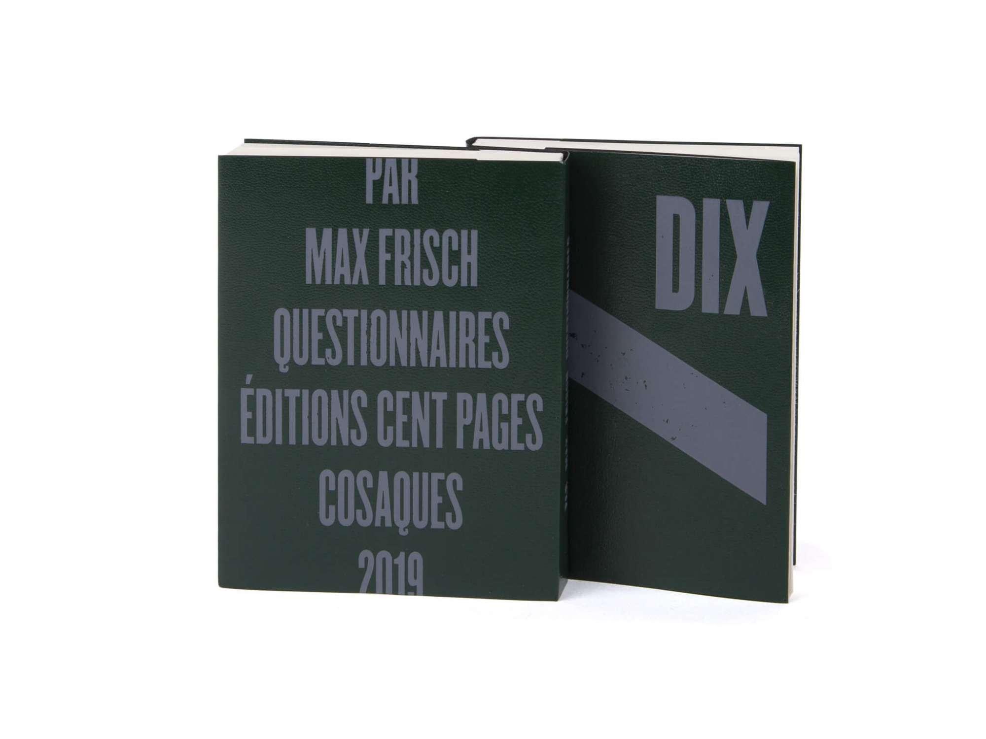 Max Frisch Questionnaires Éditions cent pages jaquette marquage à chaud gris