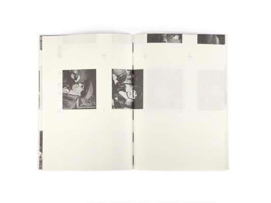 interieur de carnet graphique fabriqué à partir de macules, pages du livre Fric-frac des éditions cent pages