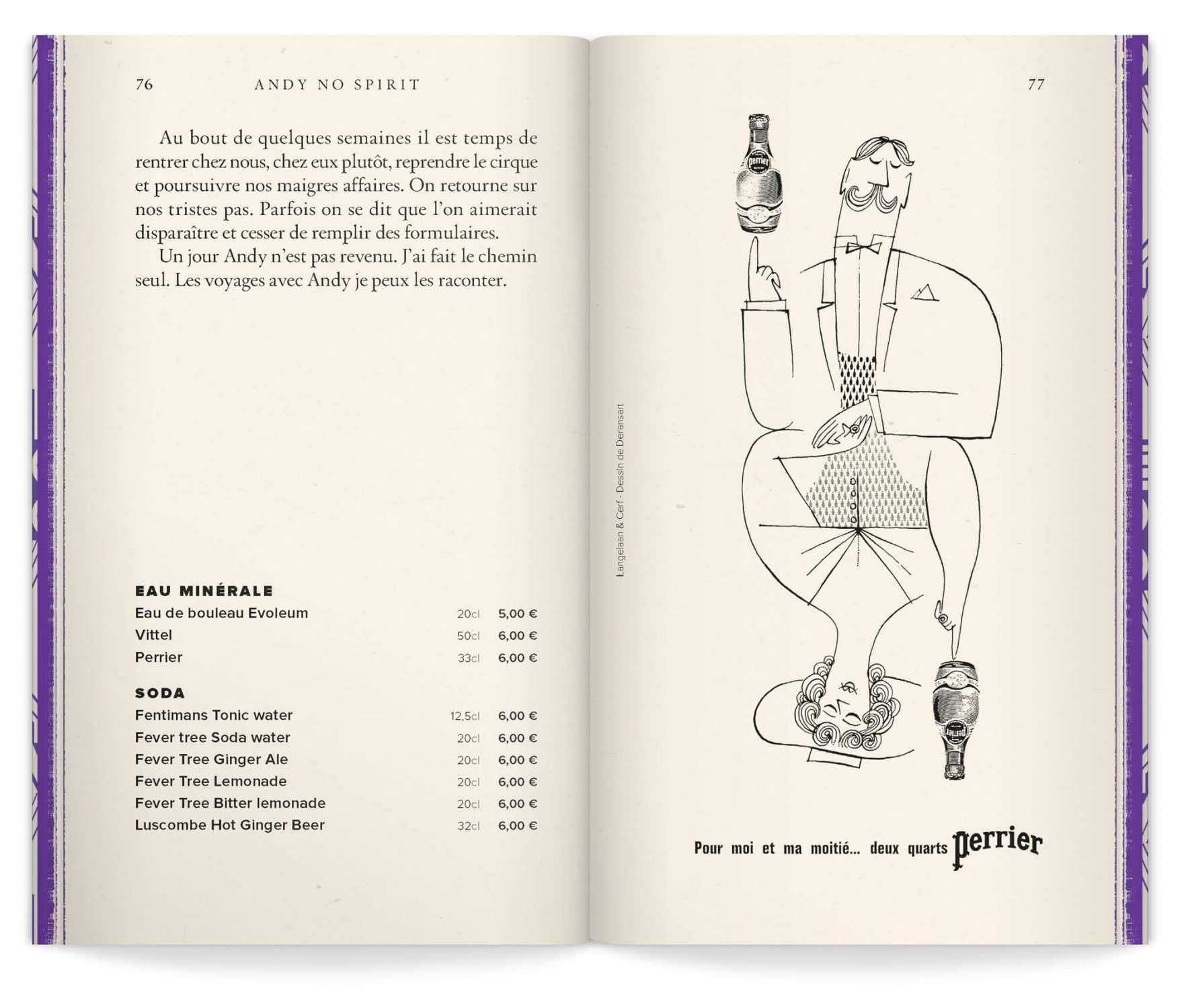 mise en page d'une double page avec illustration vintage de la marque Perrier - Studio ich&Kar