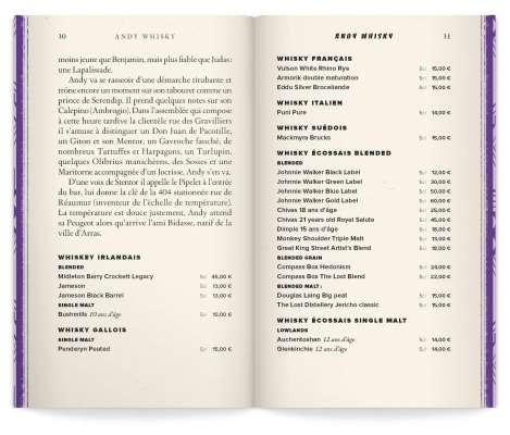 double page du chapitre andy whisky, mise en page du livre carte par ichetKar, et nouvelles par Olivier Gadet