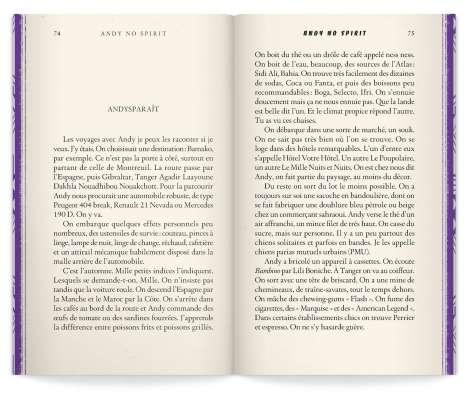 double page de la nouvelle autour du rhum écrite par olivier Gadet pour le menu carte du Bar Andy Wahloo, design ich&Kar