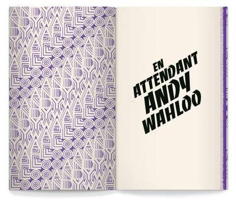 page de garde avec motif retro violet, et titre en typographie Banco, pour le nouveau livre carte des alcools de l'Andy wahloo