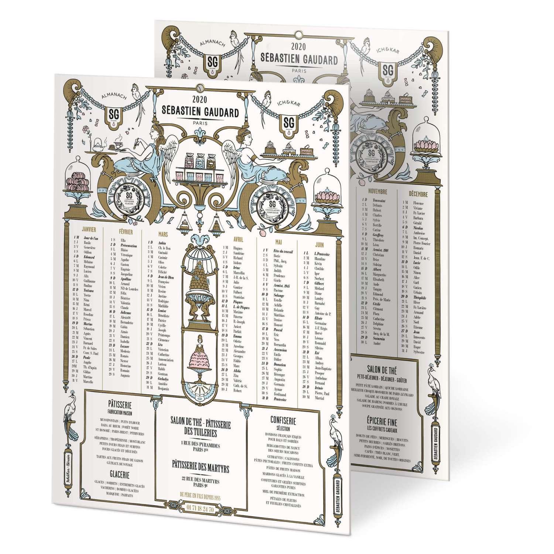 IchetKar dessine un décor pâtissier inspiré du décorateur Bérain pour l'almanach 2020