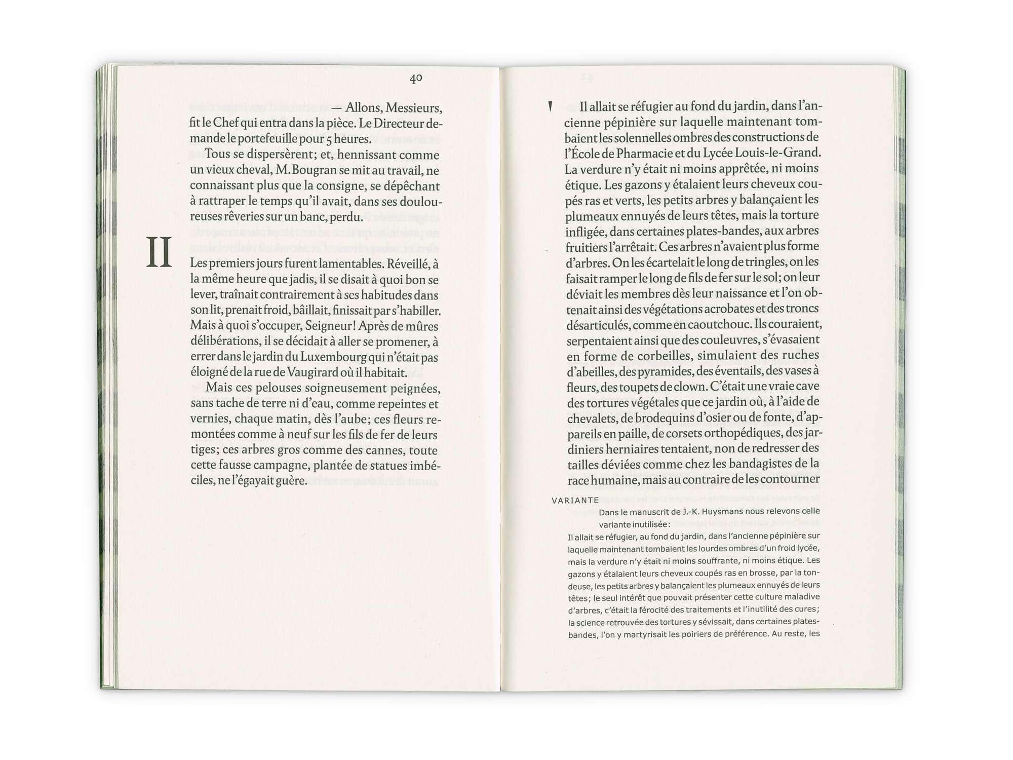 Intérieur du roman de Joris-Karl Huysmans, La retraite de Mr Bougran, aux éditions Cent Pages
